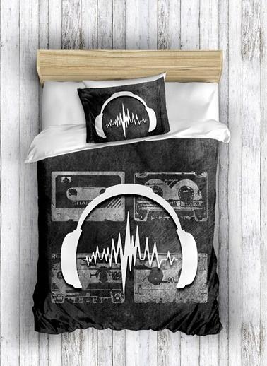 Eponj Home 3D Nevresim Seti Pamuk Tek Kişilik Sound  Siyah